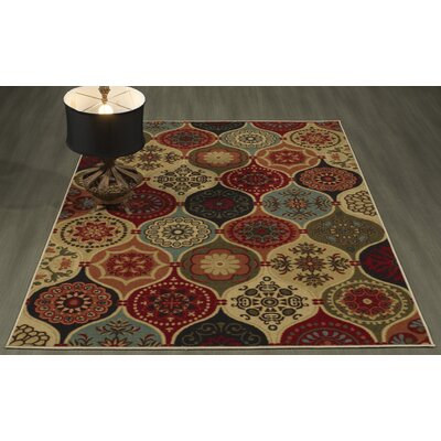 Arline Rubberback Red/Beige Indoor/Outdoor Area Rug