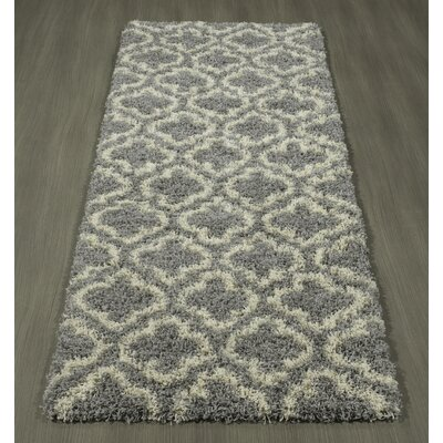 Shebeen Floral Gray/White Indoor/Outdoor Area Rug Rug Size: Runner 27 x 7