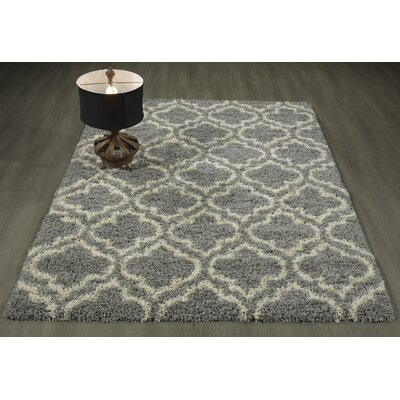 Shebeen Floral Gray/White Indoor/Outdoor Area Rug Rug Size: 33 x 47