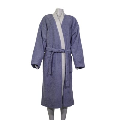 Alric Turkish Cotton Kimono Bathrobe Size: Small/Medium, Color: Slate Gray/White Collar