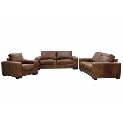 Trey Leather 3 Piece Living Room Set