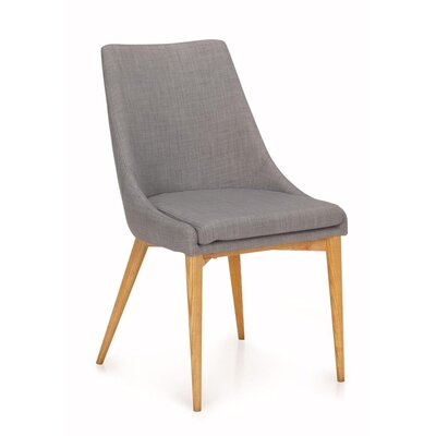 Quentin Upholstered Dining Chair Upholstery Color: Light Gray, Frame Color: Light Oak