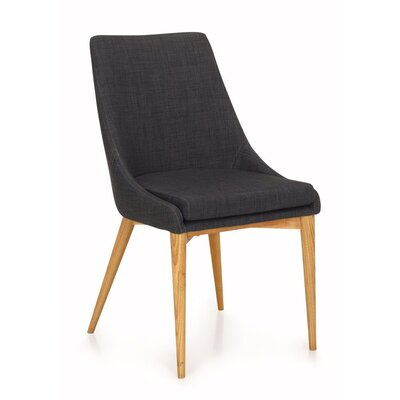 Quentin Upholstered Dining Chair Upholstery Color: Dark Gray, Frame Color: Teak