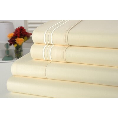 Alonzo Modern Rayon from Bamboo Egyptian Comfort Sheet Set Size: King, Color: Ivory