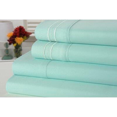 Alonzo Modern Rayon from Bamboo Egyptian Comfort Sheet Set Size: King, Color: Aqua