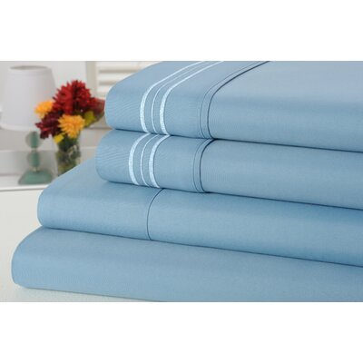 Alonzo Modern Rayon from Bamboo Egyptian Comfort Sheet Set Size: King, Color: Sky Blue