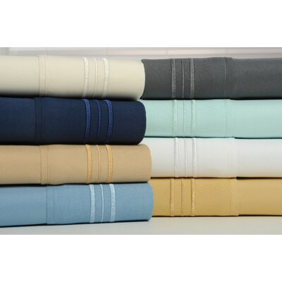 Alonzo Modern Rayon from Bamboo Egyptian Comfort Sheet Set Size: Queen, Color: White