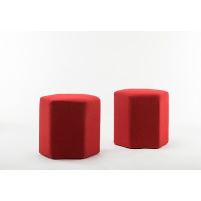 Royalton Hexagon Bench Ottoman Upholstery: Red
