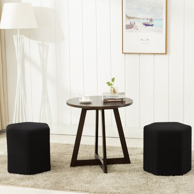 Horrocks 3 Piece Hexagon Ottoman Set Upholstery: Black