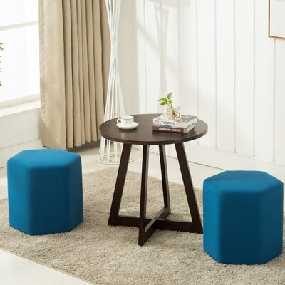 Horrocks 3 Piece Hexagon Ottoman Set Upholstery: Dark Blue