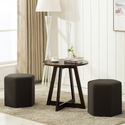Horrocks 3 Piece Hexagon Ottoman Set Upholstery: Dark Gray