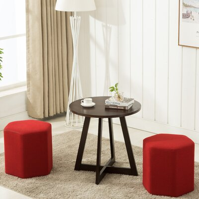 Horrocks 3 Piece Hexagon Ottoman Set Upholstery: Red