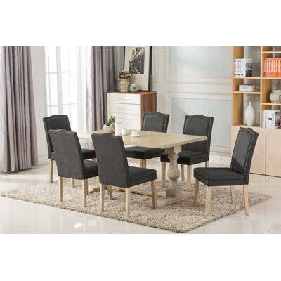Patino Antique 7 Piece Dining Set Upholstery Color: Dark Gray