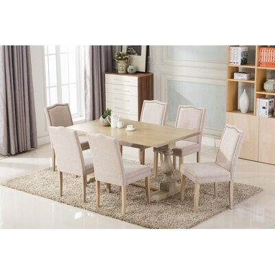 Patino Antique 7 Piece Dining Set Upholstery Color: Beige