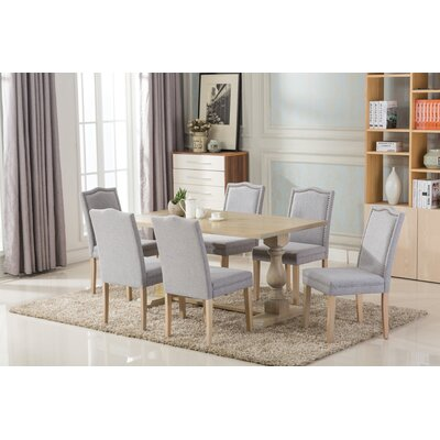 Patino Antique 7 Piece Dining Set Upholstery Color: Light Gray