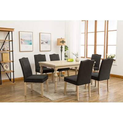 Edeline Country Styled 7 Piece Dining Set with Round Carved Legs Chair Color: Dark Gray (Charcoal)