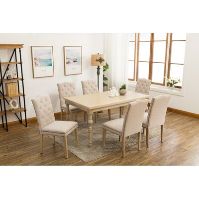 Edeline Country Styled 7 Piece Dining Set Chair Color: Beige