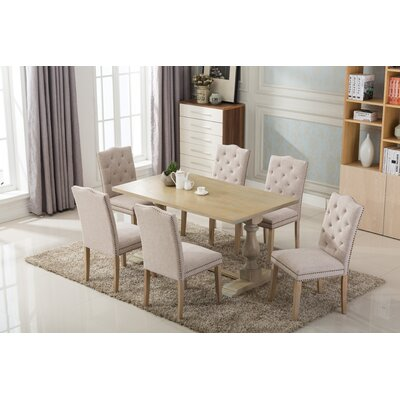 Dietz 7 Piece Dining Set Chair Finish: Beige