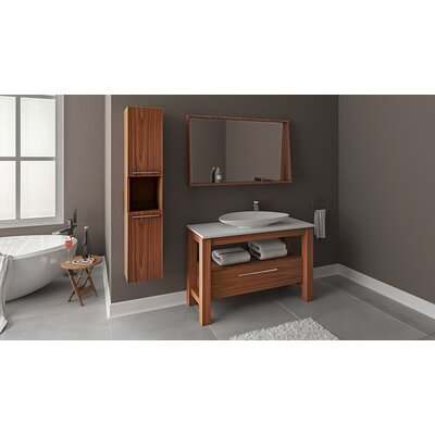 Eveleth Wood Veneer 48 Single Bathroom Vanity Set with Mirror Base Finish: Veneer Oak