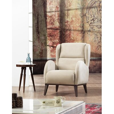 Danos Chesterfield Wingback Chair Upholstery: Beige