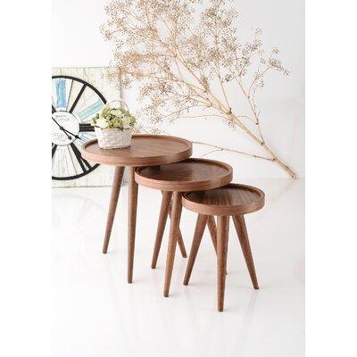 Alec 3 Piece Walnut Nesting Table