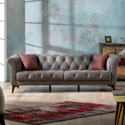 Danos 3 Seater Chesterfield Sofa Upholstery: Smokey Gray