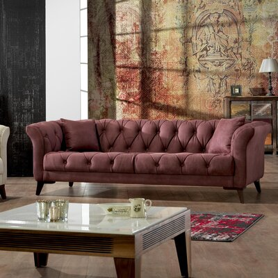 Danos Chesterfield Sofa Upholstery: Dry Rose
