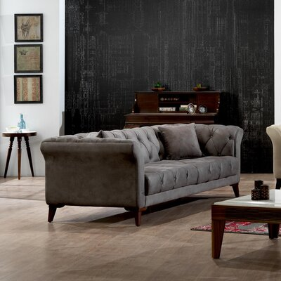 Danos Chesterfield Loveseat Upholstery: Smokey Gray