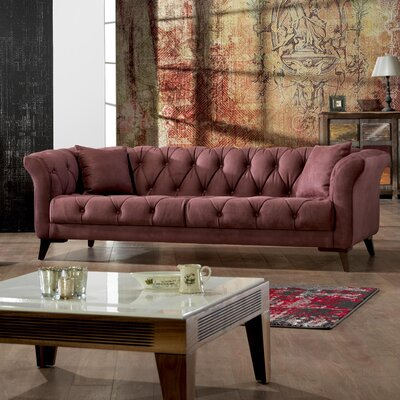 Danos Chesterfield Loveseat Upholstery: Dry Rose