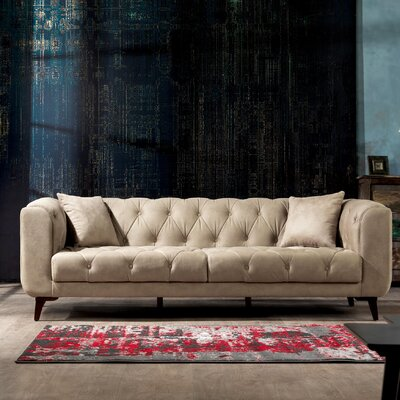 Danos 3 Seater Nubuck Chesterfield Sofa Upholstery: Beige