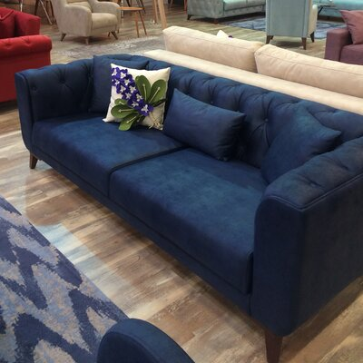 Danos 3 Seater Nubuck Chesterfield Sofa Upholstery: Navy Blue