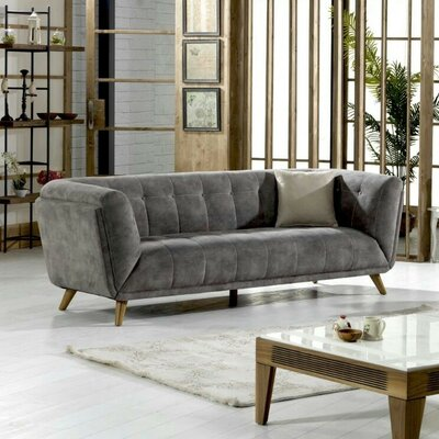 Danos Nubuck Chesterfield Loveseat Upholstery: Smokey Gray