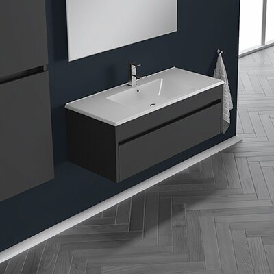 Nico 25 Single Bathroom Vanity Set with Single Hole Faucet Base Finish: Eco Gray