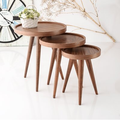Alec 3 Piece Walnut Nesting Table