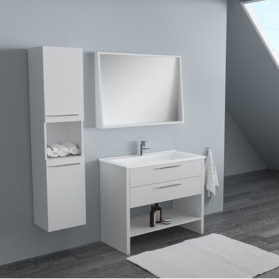Rieke 32 Single Bathroom Vanity Set with Mirror Base Finish: Lacquer White