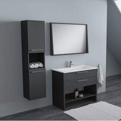 Rieke 32 Single Bathroom Vanity Set with Mirror Base Finish: Lacquer Matte Gray