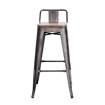 Long Low Back 30 Bar Stool with Wood Seat
