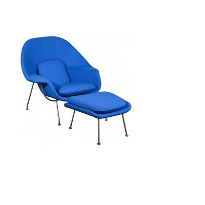 Pontiff Lounge Chair and Ottoman Upholstery: Blue