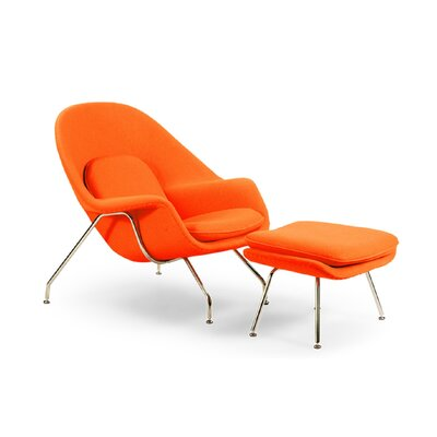 Pontiff Lounge Chair and Ottoman Upholstery: Orange