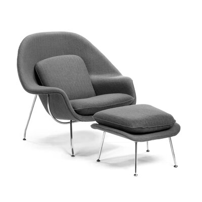 Pontiff Lounge Chair and Ottoman Upholstery: Gray