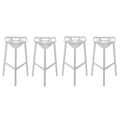 Roderick 26 Bar Stool Color: White, Set Of: Set of 4