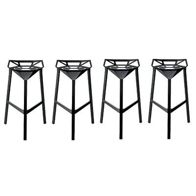 Roderick 30 Bar Stool Color: Black, Set Of: Set of 4