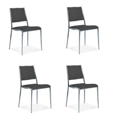 Cowger Upholstered Dining Chair Color: Black