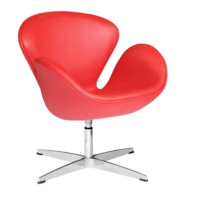 Murphey Leather Armchair Upholstery: Red