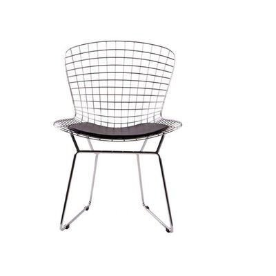 Iseminger Wire Dining Chair Upholstery Color: Black, Frame Color: Chrome