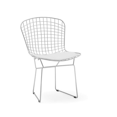Iseminger Wire Dining Chair Upholstery Color: White, Frame Color: Chrome