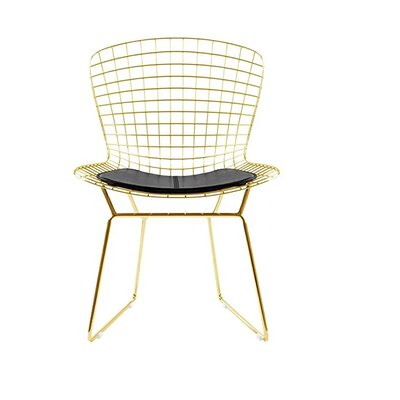 Iseminger Wire Dining Chair Upholstery Color: Black, Frame Color: Gold