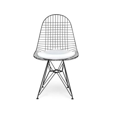 Isenhour Eiffel Wire Side Chair Upholstery: White, Finish: Black
