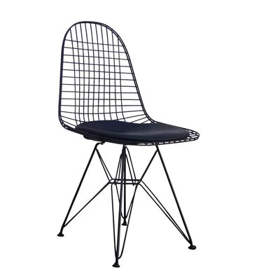 Isenhour Eiffel Wire Side Chair Upholstery: Black, Finish: Black