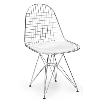 Isenhour Eiffel Wire Side Chair Upholstery: White, Finish: Chrome